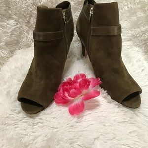 Marc Fisher Olive Green Peep-Toe Ankle Booties